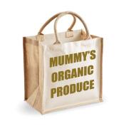 Medium Jute Bag Mummy's Organic Produce Natural Bag Gold Text Mothers Day New Mum Birthday Christmas Present