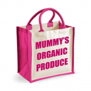 Medium Jute Bag Mummy's Organic Produce Pink Bag Mothers Day New Mum Birthday Christmas Present