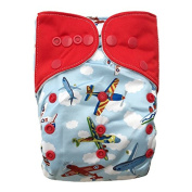 "HappyEndings ""Night, Night""TM All In One Nappy (+Pocket & 5 Layer Charcoal Bamboo Insert) ""Airborne"""
