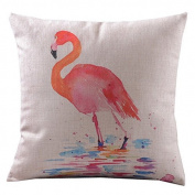 Home Decor Sofa Cotton Linen Flamingo Throw Pillow Cover