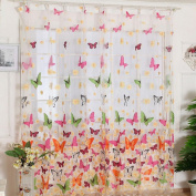 Ouneed Fashion Butterfly Print Sheer Window Panel Curtains Room Divider New For Living Room Bedroom Girl 200X100CM
