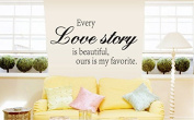 Revesun Every Love Story Quote Wall Quote Sticker for bedroom, living room, 25 x 70 CM