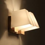 Modern Wooden Glass Trapezoid Cube Bedroom Bedsides Wall Lamp Bathroom Mirror Front Corridor Balcony Hallway Wall Lighting Fixtures