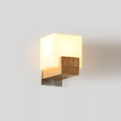 Contracted Japanese Wooden Corridor Wall Lamp Chinese Bedroom Wall Sconce White Acrylic Cube Bedsides Stair Case Wall Lighting Fixtures