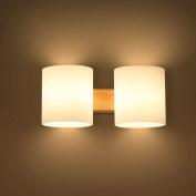 Modern Wooden Glass Cylinder Bedroom Bedsides Wall Lamp Bathroom Mirror Front Corridor Balcony Hallway Wall Lighting Fixtures