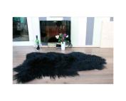 Meryno - Icelandic Sheepskin Rug Amazing Soft Wool - Black, large