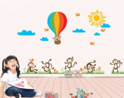 Rainbow Fox Naughty Monkeys Playing on the Grass with Hot Air Ballon in the Sky Nursery Room Kindergarten Wall Sticker Wall Decal