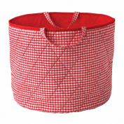 Simply Storage Red Gingham Storage Basket Large - gingham storage basket, round storage basket, large fabric storage baskets - great for toy storage, kids storage and as a laundry hamper