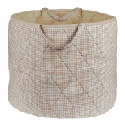 Simply Storage Neutral Gingham Storage Basket Large - gingham storage basket, round storage basket, large fabric storage baskets - great for toy storage, kids storage and as a laundry hamper
