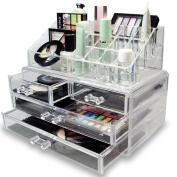 Ikee Design Acrylic Jewellery and Cosmetic Storage Display Box Set