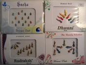 Pack Of 4 x Colourful Crystal Diamanté Gem Bindis - Self Adhesive Stick On Temporary Body Art Tattoo Jewel for Bollywood Party Prom Wedding - Multi Pack Selection Assortment - Selection 93