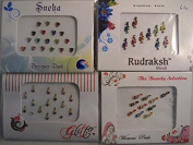 Pack Of 4 x Colourful Crystal Diamanté Gem Bindis - Self Adhesive Stick On Temporary Body Art Tattoo Jewel for Bollywood Party Prom Wedding - Multi Pack Selection Assortment - Selection 64