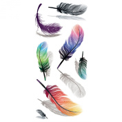 Cokohappy Temporary Tattoo , Colourful Mix 3D Feather Long-Lasting Arm Leg Back Sticker for Girls Women