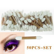 G2Plus 50 PCS Disposable Eyeshadow Brush Dual Sided Oval Sponge Tipped Makeup Applicator Tool
