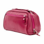 Dark Pink Genuine Leather Ladies Cosmetic Case | Make-Up Travel Shower Bag
