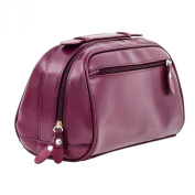 Purple Genuine Leather Ladies Cosmetic Case | Make-Up Travel Shower Bag