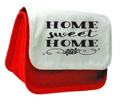Home Sweet Home Family Statement Pencil Case Or Clutch Purse Make Up Bag - Red