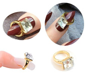 Ring gold colour with Rhinestone Nail Art Nail Manicure Nails Pose