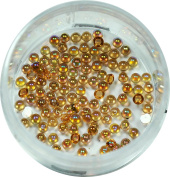 RM Beauty Nails Half Pearls 1.2 mm Honey Yellow Round Glitter Rhinestones Nail Art and Nail Art