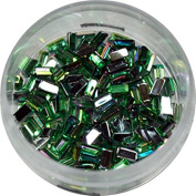 RM Beauty Nails with Rhinestones in Green Rectangular Shape Rhinestones Glitter Nail Art and Nail Art