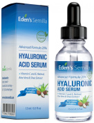20% Hyaluronic Acid Serum 15ml - Best hydration moisturiser for the face. Contains Vitamin C, Retinol, Vitamin E. Plumps and smoothes fine lines and wrinkles. Antioxidant protection and collagen builder for softer more radiant and healthier looking skin.