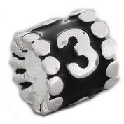 (Choose You Lucky Numbers)Black Enamel Number Charm Bead From 0-9 For Snake Chain Bracelets