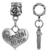 Jewellery Hut Silver Special Niece Heart shaped Dangle Charm Fits Pandora Bracelets Ladies Girls Womens Jewellery