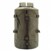Ushang Vintage Canvas Barrel Backpack Travel Duffel Bag Rucksack Camping Bag, Army Green