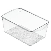 InterDesign Rain Cosmetic Organiser Bin for Vanity Cabinets to Hold Makeup, Beauty Products - Clear