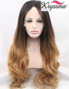 K'ryssma Natural Looking Ombre Brown Wavy Wig Long Synthetic Hair Lace Front Wigs for Women Heat OK Half Hand Tied 60cm