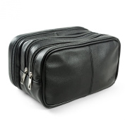 Lavievert Genuine Leather Toiletry Bag Grooming Shaving Accessory Dopp Kit Portable Travel Organiser with Three-layered Storage Sections & Handle Strap