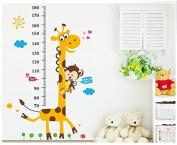 Monkey climbing on Giraffe Growth Chart wall sticker measuring children height wall decal