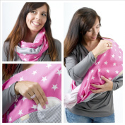 "Mania Breastfeeding scarf ""Pink Star"" with small pocket for nursing pads in size S/M"