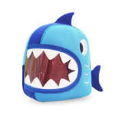 GreenForest Nursery Kids Backpacks for Boys Girls Toddler - Lifelike Shark Bag Blue with Brown Mouth (11.2*9.6*8.9cm ) - Best Gift For 3-8 years old Girls