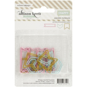 #HAPPY Shaped Paper Clips Assorted 15/PkgTeal Arrows, Gold Flags & Pink Banners
