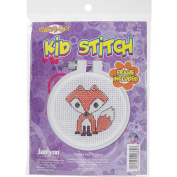 Kid Stitch Fox Mini Counted Cross Stitch Kit-7.6cm Round 11 Count
