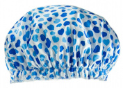 Poly & EVA Waterproof Multifunctional Double layer Shower Cap, Blue Heart