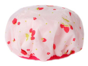 Poly & PVC Waterproof Multifunctional Double layer Shower Cap, Cute Strawberry