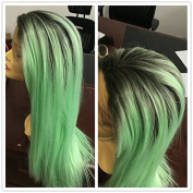 Kylie Jenner hairstyle mint green ombre straight hair wigs Synthetic Lace Front Wig Two Tone Natural Green/Black Heat resistant