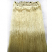 Saferin® Full Head Set 110g 150g 200g Silky Straight 100% Remy Human Virgin Hair Extensions in One Piece with 5 Clips #613 Bleach Blonde 180g 70cm