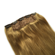 Saferin® Full Head Set 150g 200g Thick Silky Soft 100% Remy Human Virgin Hair Extensions in One Piece with 5 Clips #27 Dark Blonde 150g 60cm