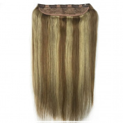 Saferin® Full Head Set 110g 150g 200g Silky Straight 100% Remy Human Virgin Hair Extensions in One Piece with 5 Clips #8/613 Chestnut Brown Mixed Blonde 130g 60cm