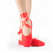 Ballet Pointe Shoes for Girls/Women in red with free ballet pointe toe pads and ribbons(Please choose one size more than usual)