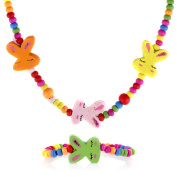 Crummy Bunny Multicolor Wooden Bunny Necklace and Bracelet Set