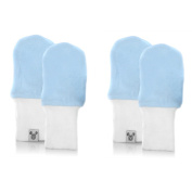 Crummy Bunny No Scratch Blue Cotton Baby Mittens