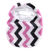 Crummy Bunny Girls' Fuzzy Chevron and Solid Colour Bib Set