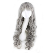 RightOn 70cm Fashion Lolita Women Girls Milk Grey long curly wave cosplay wig with free cap and comb