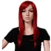 """23""""/58cm Most Popular Cheap Wig Womens Lady's Long Layered Full Head Wigs Dark Red Synthetic Hair Wig Hairpiece"""