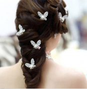 3 x Butterfly Clear Crystal Pearl U-shaped Hair Pins Clips Wedding Bridal Lovely