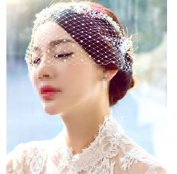 Wedding Headdress Bridal Pearl Net Tulle Face Veil Fascinator Veils Cap Lady X 1